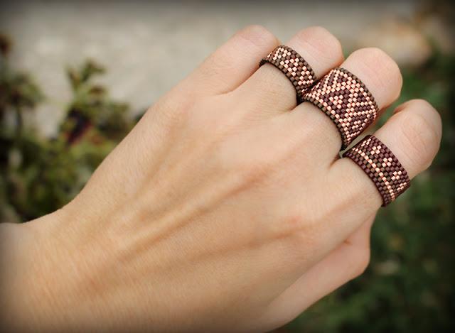 купить кольца на три пальца набор бохо колец из бисера украшения
