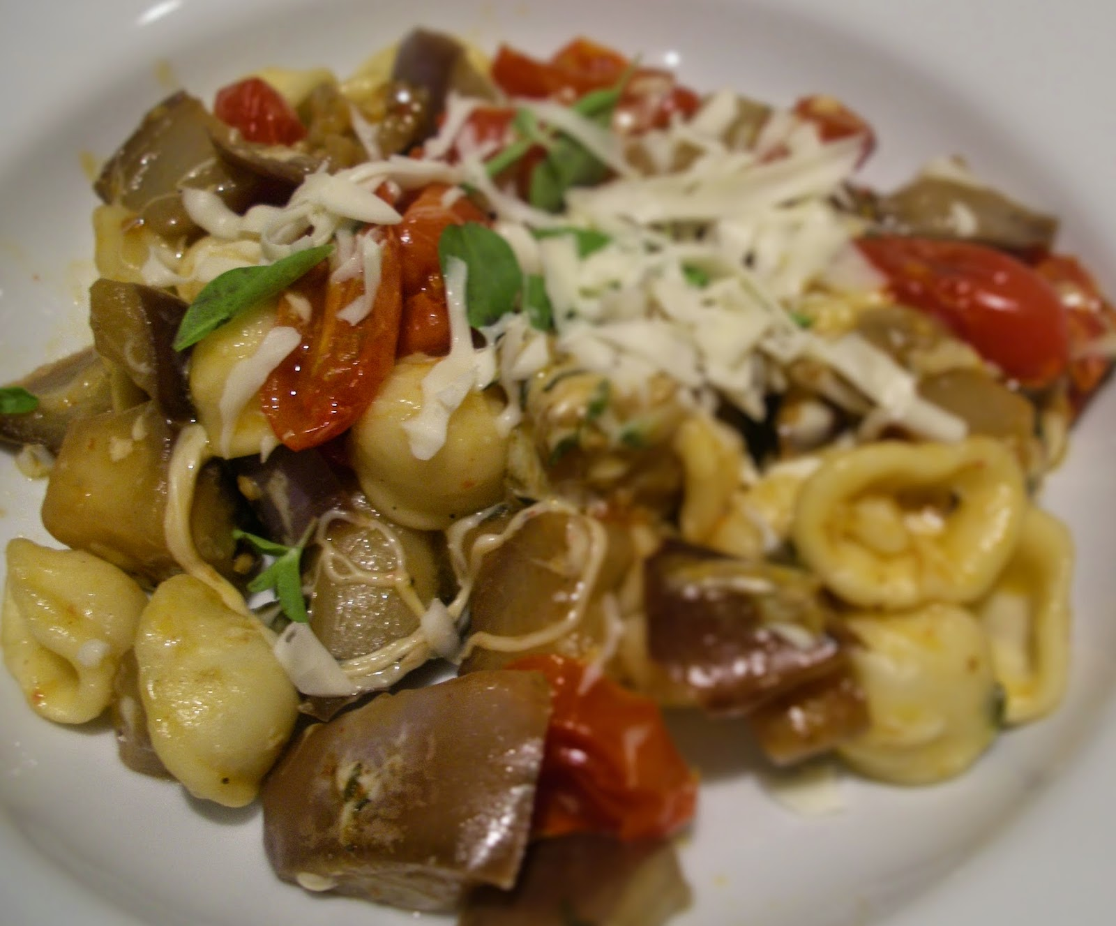 Orecchiette with eggplant and roast tomatoes