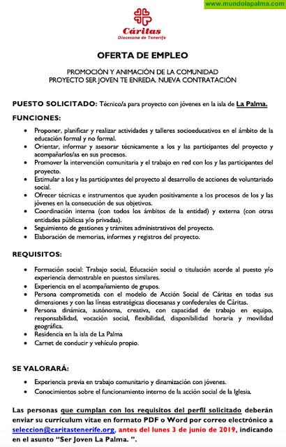 Cáritas busca un técnico para proyecto con jóvenes en La Palma