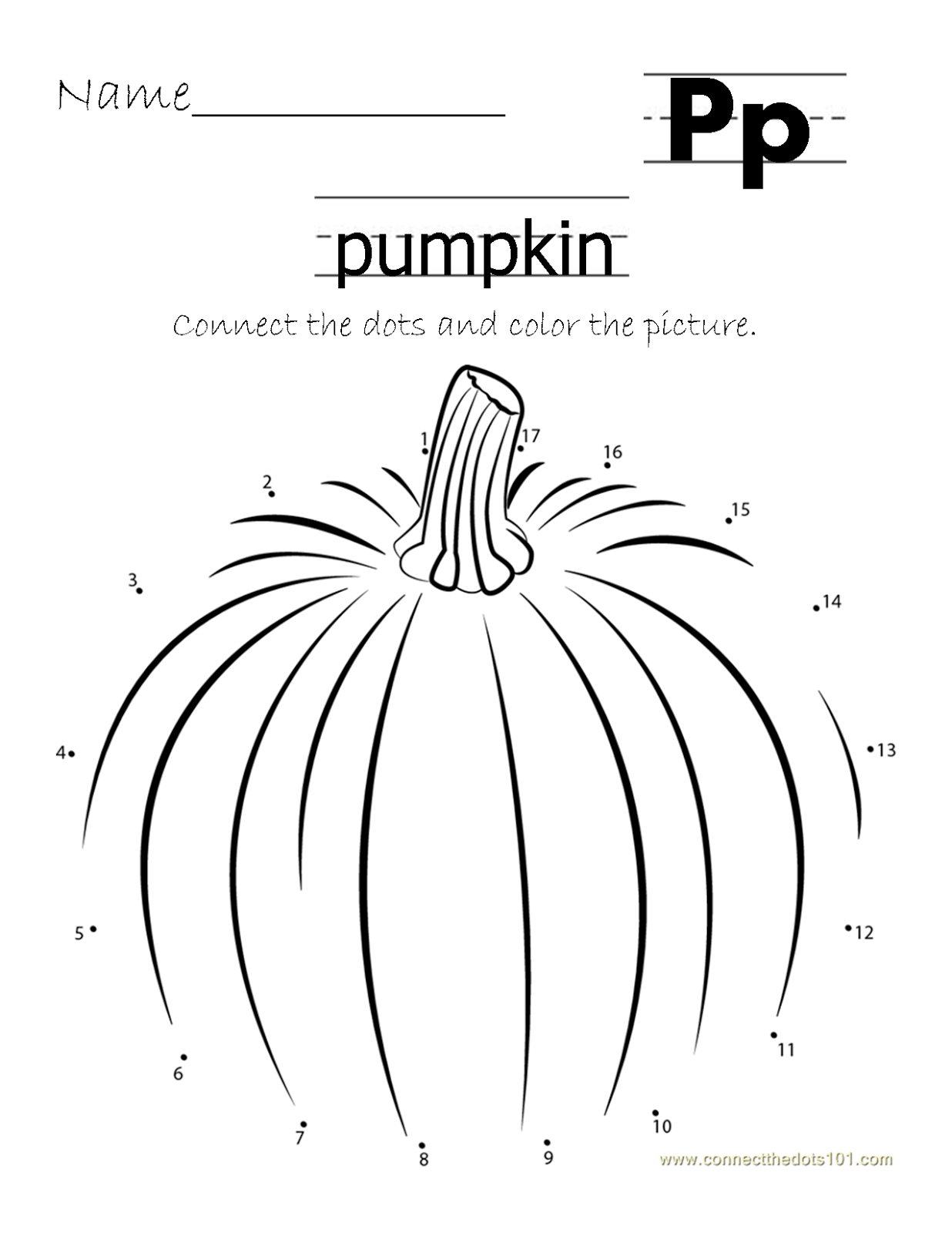 Printable Homeschool Connect The Dots Pumpkin