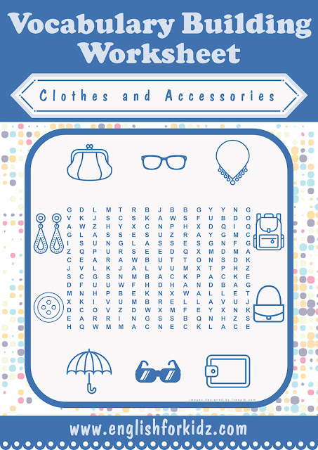 Free printable clothes and accessories wordsearch worksheet for ESL students