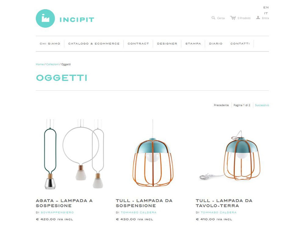 Incipit ecommerce nuovi talenti design