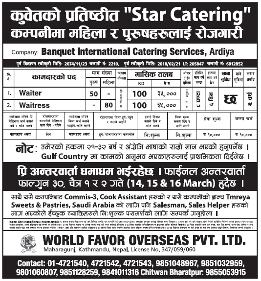 Jobs in Kuwait for Nepali, Salary Rs 35,000