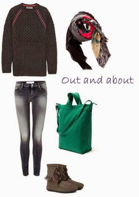 T by Alexander Wang sweater, IRO.Jeans, Baggu Duckbag, Minnetonka moccasins, Yarnz scarf
