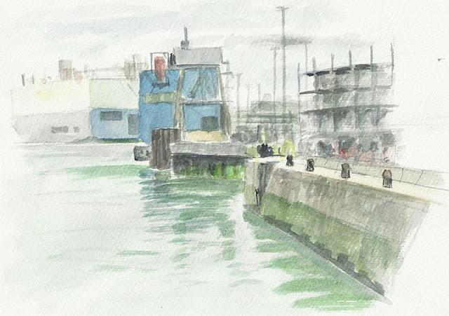 Southamptons  ABP docks ships loading art