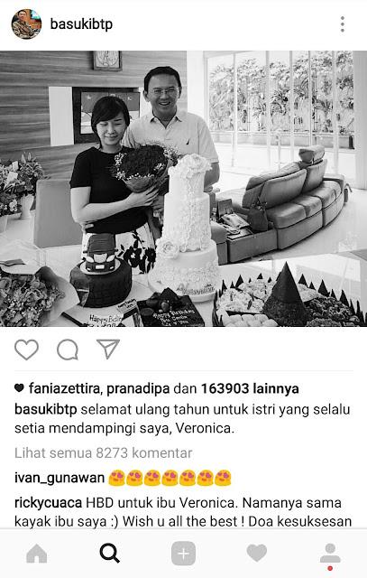 Foto: Salah satu momen mesra Ahok dan Veronica Tan. Instagram @basuki_btp