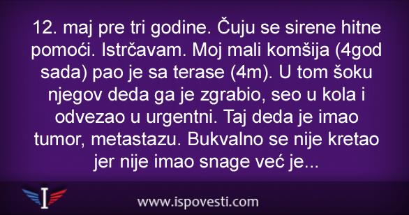 Image result for 12 MAJ PRE TRI GODINE. ČUJU SE SIRENE HITNE POMOĆI. ISTRČAVAM….