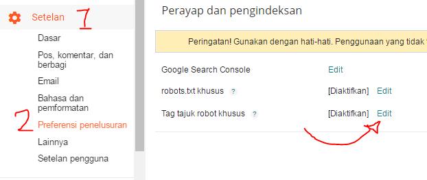 Cara Mengatur Costum Robot Tag Header Blogspot
