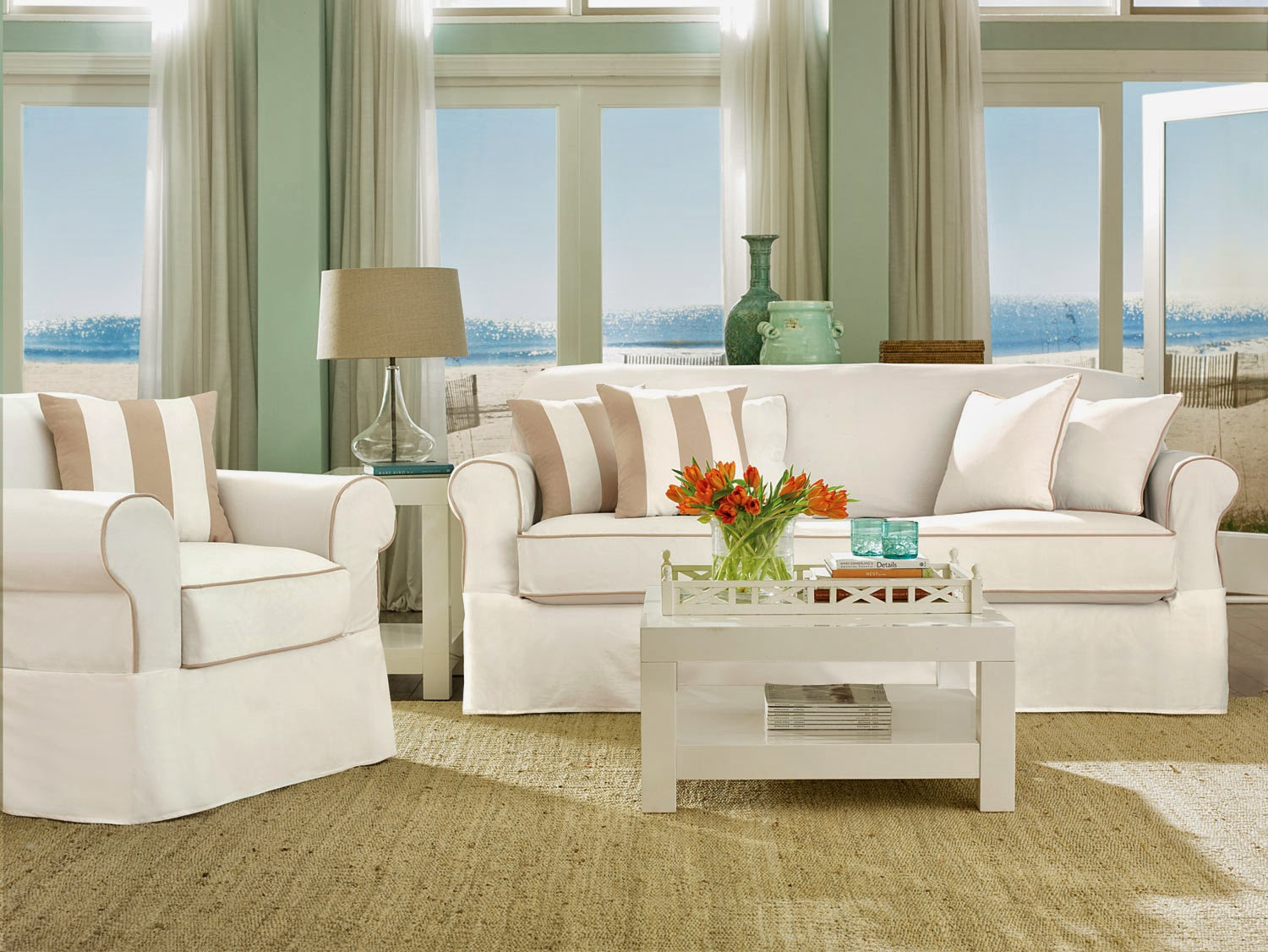 Beach House Sofa Slipcover Designs For Small Drawing Room In India Sure Fit Slipcovers Turn Your Home Into A Getaway