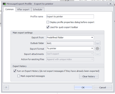 Setting Outlook email printing options in MessageExport.