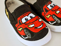 "Paint your shoes to look like ""CARS"" characters"