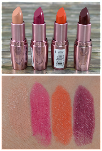 P2 beauty voyage LE P2 beauty voyage LE color fusionnlipsticks 010 vintage beige, 020 marsala dream, 030 sunburst, 040 damas rose und Swatches
