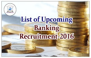 List of Upcoming Banking Recruitment- 2016