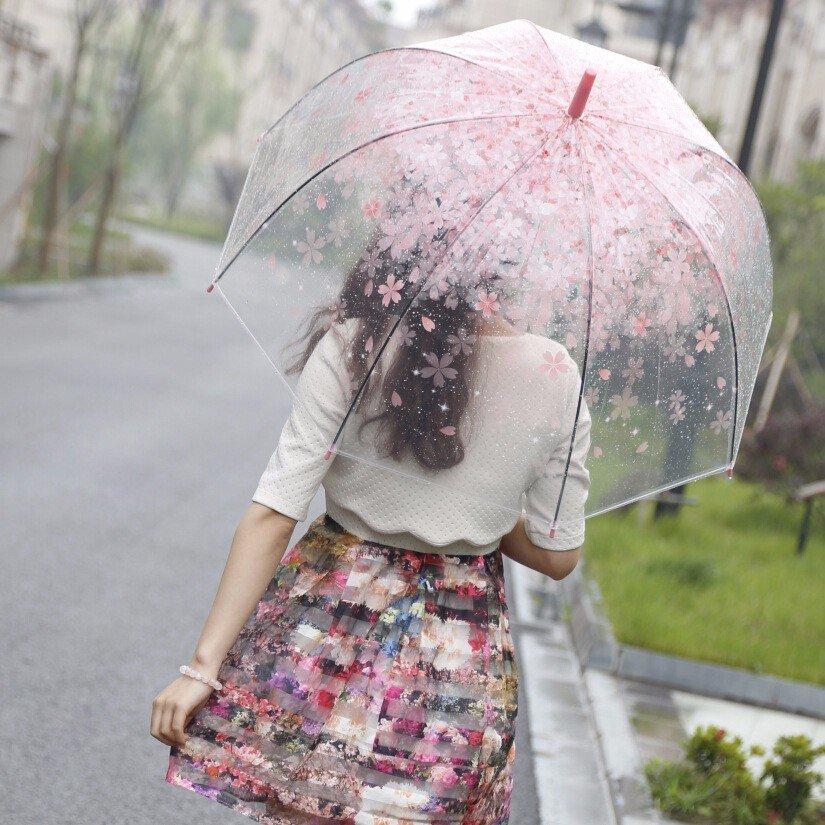 Umbrela transparenta cu flori de primavara
