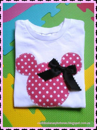 conhiloslanasybotones - camiseta con apliques de Minnie Mouse