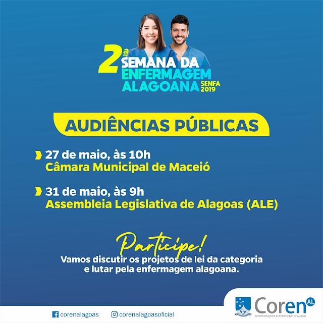 Coren-AL participa de audiências públicas na ALE e na Câmara de Vereadores de Maceió