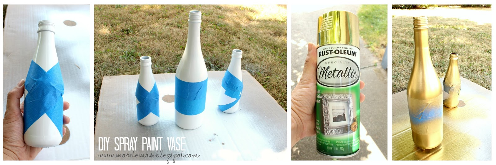 Diy spray paint vase more to mrs e when taping the vase keep in mind that you want to cover whatever you dont want to be gold go over the edges of the tape where paint will be applied with reviewsmspy