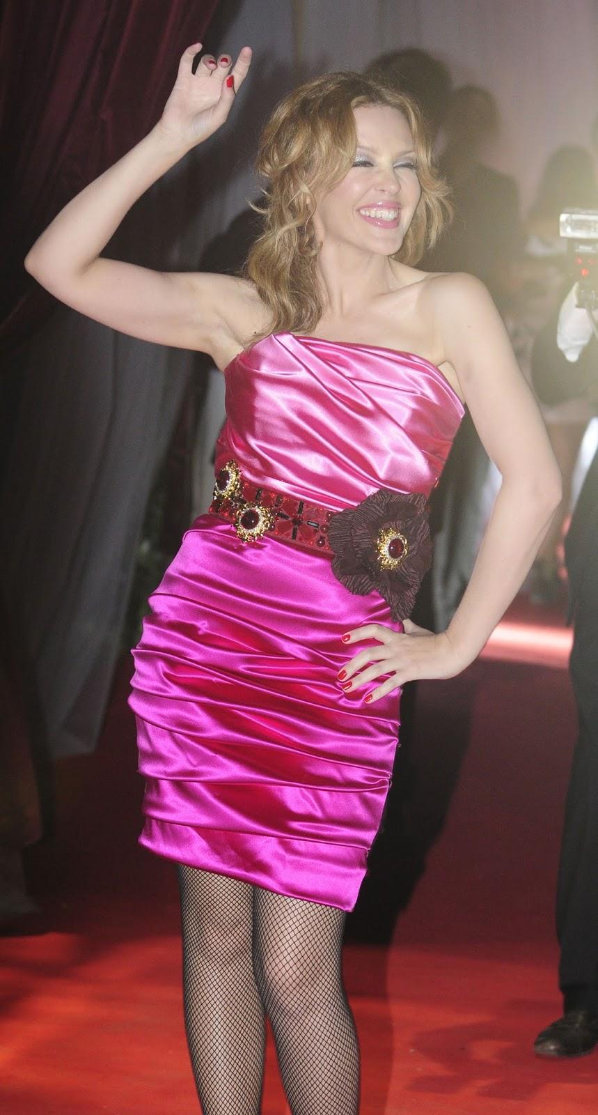 Ladies In Satin Blouses Kylie Minogue Pink Satin Dress
