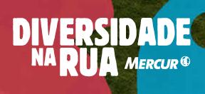 """Banner do site diversidadenarua.cc Descrição da imagem: Sobre um fundo vermelho, verde-musgo e azul, lê-se """"Diversidade na Rua"""" e, ao lado, """"Mercur""""."""