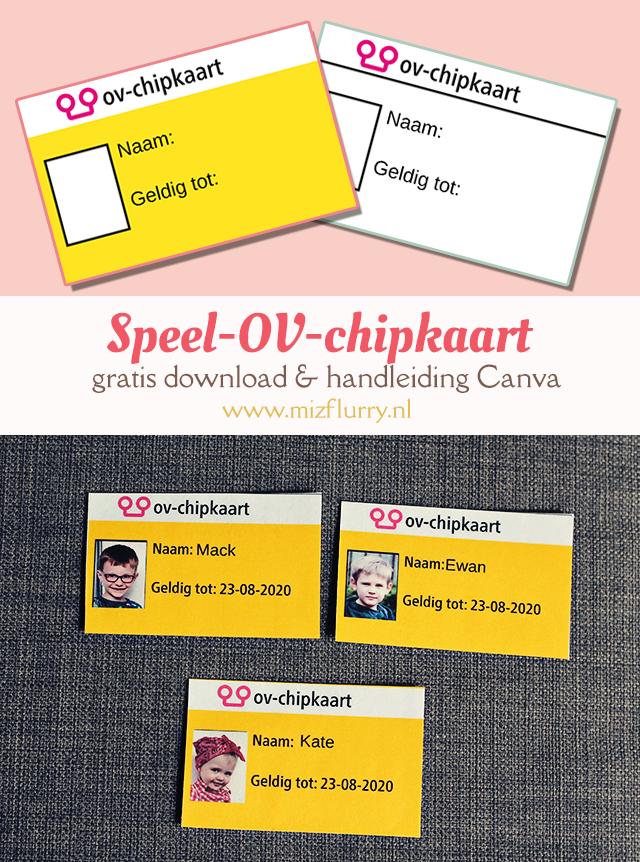 Maak zelf een (speel) OV-chipkaart voor je kind(eren) om treintje te spelen. Gratis downloaden en handleiding Canva.