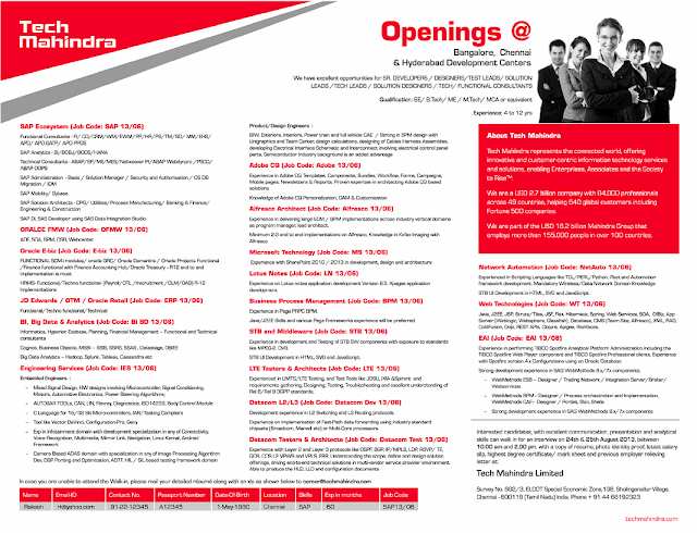 Tech Mahindra Off Campus Drive for Freshers