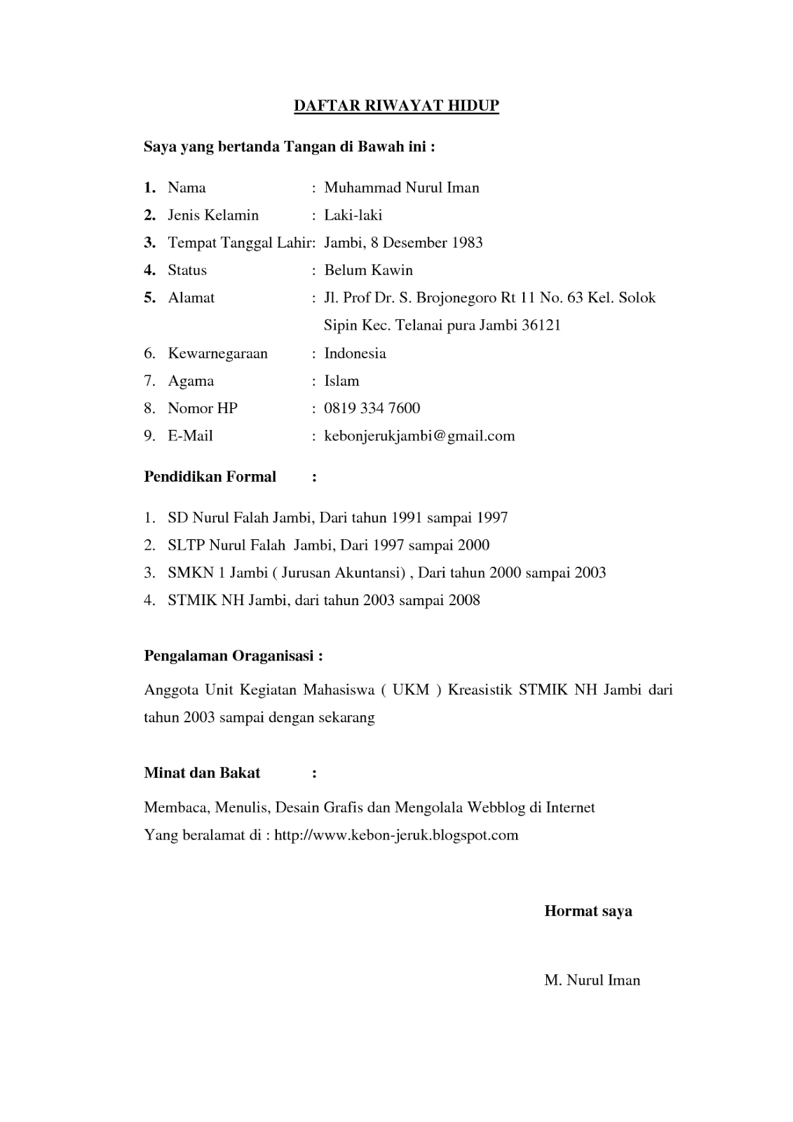 Contoh Daftar Riwayat Hidup Sederhana Cv Nabila