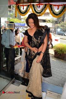 Actress Neetu Chandra Stills in Black Saree at Designer Sandhya Singh's Store Launch  0076.jpg