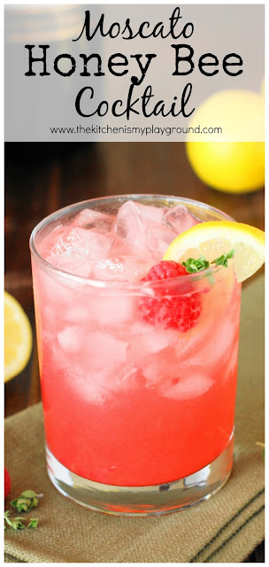 Moscato Honey Bee Cocktail ~ Grab your jar of honey & fresh raspberries for this delicious wine cocktail! Perfect for Easter brunch, Mother's Day lunch, or a bridal shower.  www.thekitchenismyplayground.com