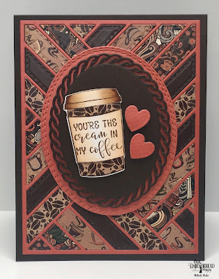 Our Daily Bread Designs Stamp/Die Duos: Hug in A Mug, Paper Collection: Latte Love, Custom Dies: Quilted Background, Oval Stitched Rows, Layered Lacey Ovals, Ornate Hearts
