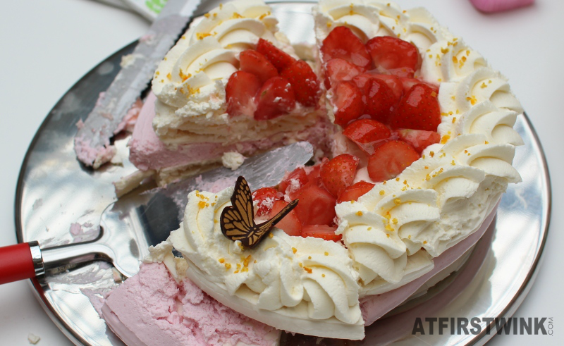 HEMA strawberry cake with chocoalte butterfly