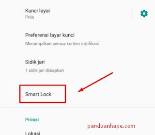menu smartlock di Xiaomi MI A1
