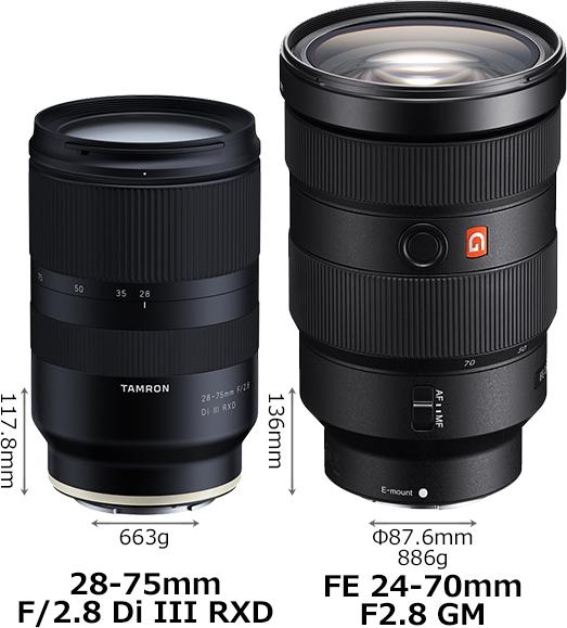 Сравнение габаритов объективов Tamron 28-75mm f/2.8 и Sony 24-70mm f/2.8 GM