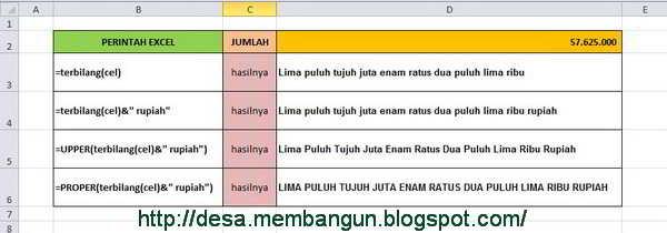 Cara Fungsi TERBILANG pada Excel