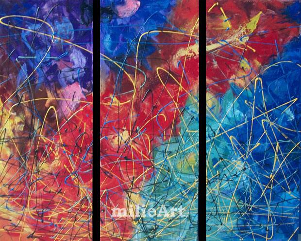 Lukisan Abstrak Hem: Jual Lukisan Abstrak Set 3 Panel 120x100cm MA-011