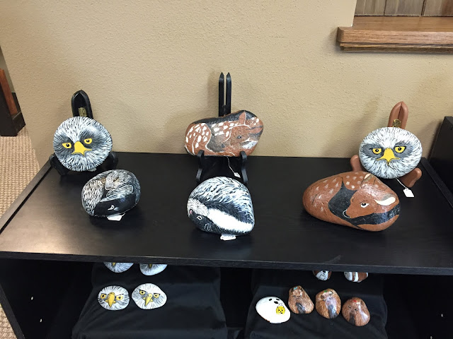 Intricate locally made painted stones at Dirty Bear Soap