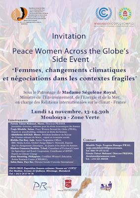 Peace Women Across the Globe's Side Event   « Femmes, changements climatiques et les négociations dans les contextes fragiles »