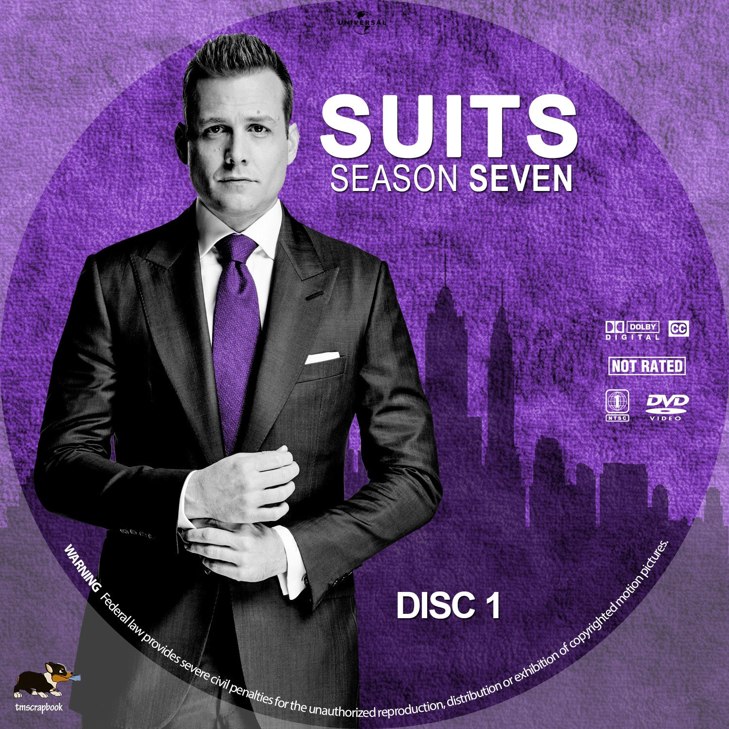 Suits Season 7 Disc 1-4 DVD Label