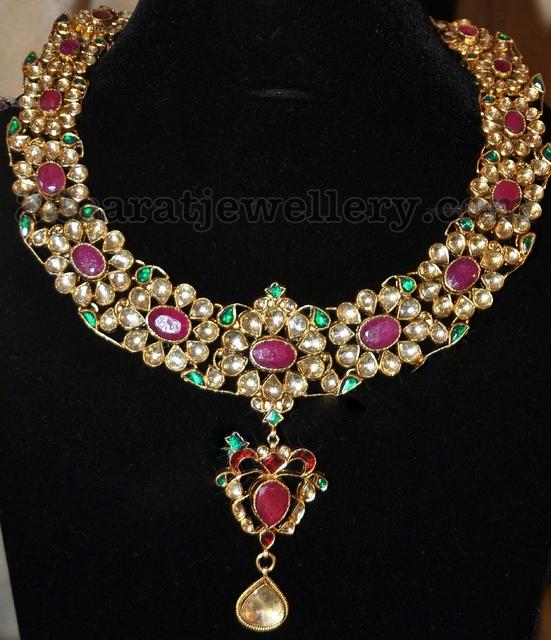 Buy Kundan Choker Necklace Priya Nacc10438c: Imitation Rubies Kundan Necklace