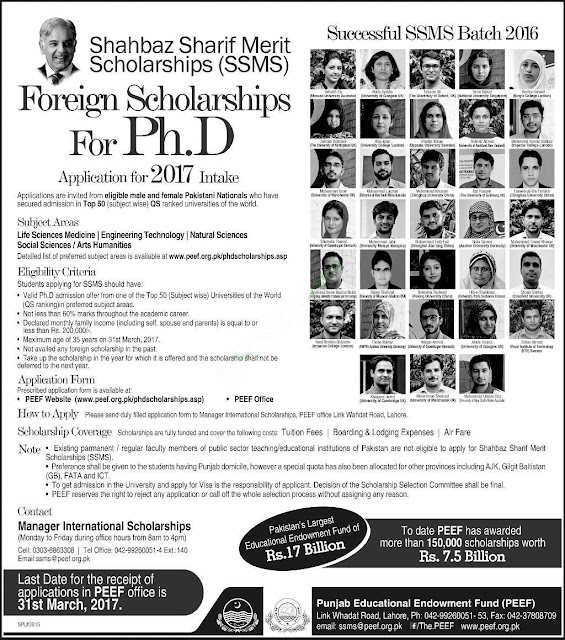 Shahbaz Sharif Merit Scholarships For Ph.D SSMS