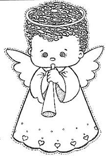 Desenho anjo natal colorir
