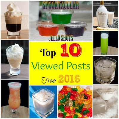 top ten viewed posts cocktails of 2016, blow job, halloween jello shots, butternut rum lifesaver, buttered monkey, ninja turtle cocktail, after sex, slippery panties, snow white chocolate martini, coconut pie, gummy bears, drunken gummy bears