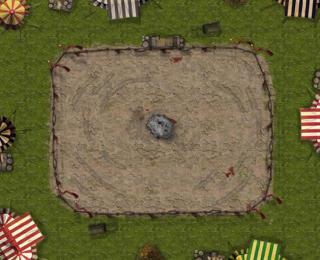 Arena numa área tipo um acampamento.