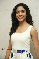 Actress Ritu Varma Stills in White Floral Short Dress at Kesava Movie Success Meet .COM 0005.JPG