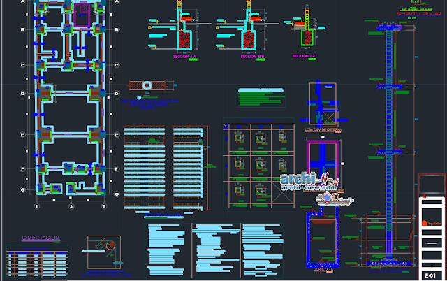 Habitation three levels Dwg