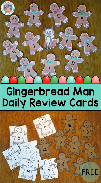 These free gingerbread man upper and lower case and number (0-20) cards are perfect for daily review in preschool or kindergarten.