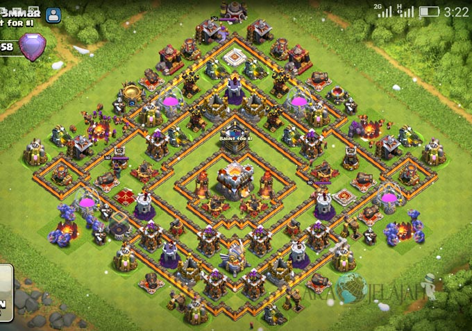 Base Trophy TH 11 COC Update Bomb Tower Terbaru 2017 Tipe 4
