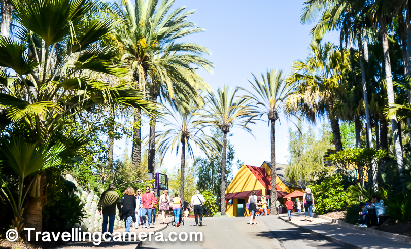 Different zones in San Diego Zoo has areas dedicated for restaurants & places to do some shopping or relax.