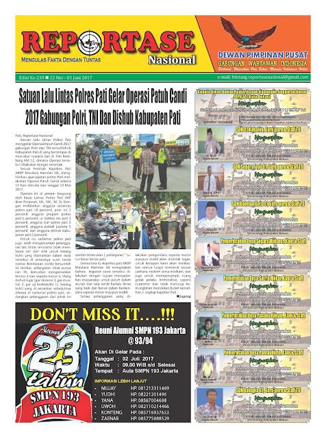 Reportase Nasional Edisi 239 Tanggal 22 Mei - 05 Juni 2017