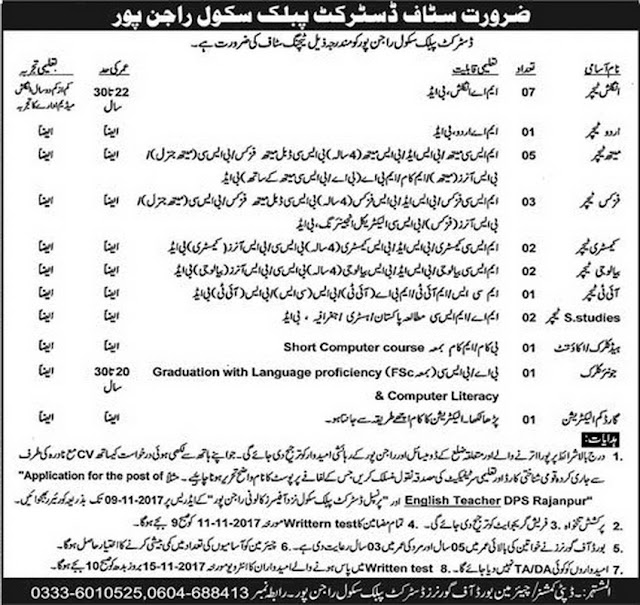 Teachers Jobs in DPS Rajan Pur Jobs 2017