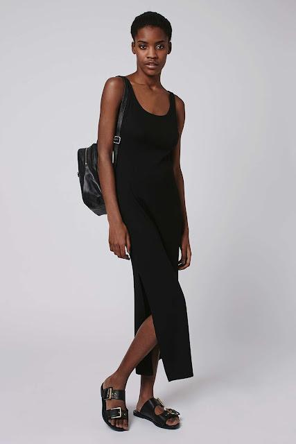 simple black maxi dress, plain black maxi dress, vest style maxi dress,